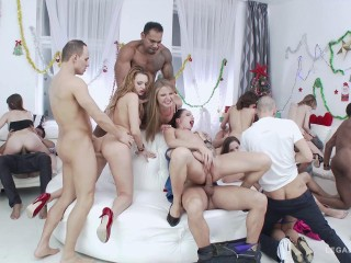 Best Xmas Orgy For Perfect Anal Sluts With DP Fuck
