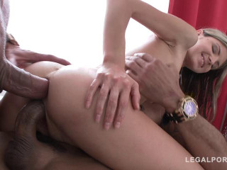 Tiny slut Gina Gerson in anal threesome with double penetration