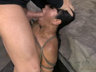 Fat boobed Asain, is bound, aggressively face drilled made to dump