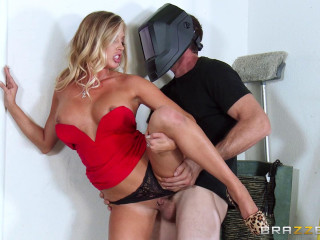 Blonde Dame In A Crimson And The Dude Mechanic