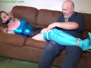 Busty wench left to struggle tightly hogtied with her big tits bound in string