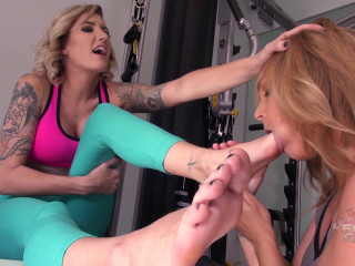Reagan makes Jenny gag on her sweaty gym feet Part 02