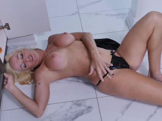 Busty milf slut in black lingerie masturbates