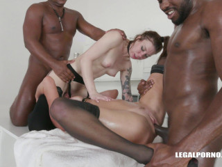 Anal queens in interracial orgy with fisting