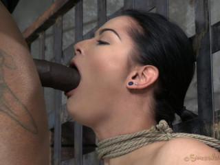 Beginner Katrina Jade with inborn DDD bosoms on her 1st restrain bondage shoot is facefucked awesome deepthroat!