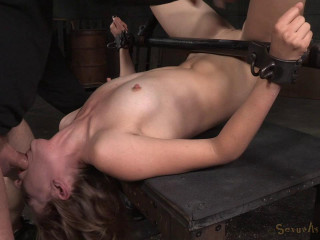 Gorgeous Mona Wales shackled in old-school fuck me stance