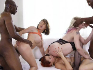 Raunchy Multiracial Orgy With Ebony Plowers