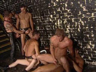 Six-man gangbang at sex club