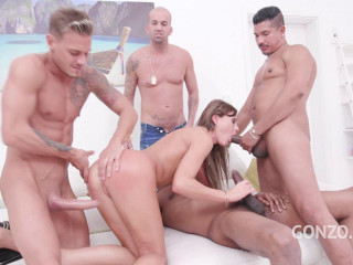Tina Kay assfucked four on one Dp Dap piss smelling cum swallow (2019)