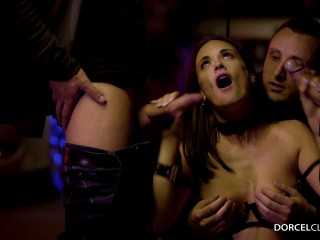 Claire Castel fucked hard by men in a parking lot