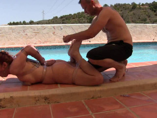 Supertightbondage - Extreme Hogtie by the Pool