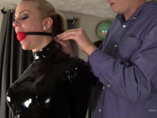 Tight bondage, domination and hogtie for hot blonde in latex