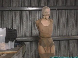 Snooty Sales Lady Bound with Pantyhose and Pied - Part 2
