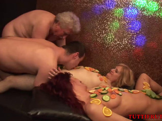 Naked Swinger Dinner Gang-Bang