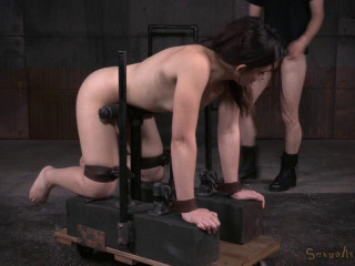 Amy Faye arched over and corded from the rear