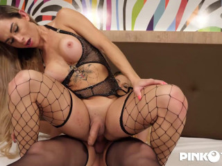 Two blonde trannies suck the cock up to their throats