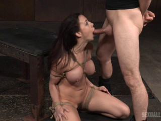 Chubby black-haired Chanel Preston stiffly corded in cord and roughly fucked, worked over by yam-sized dick!