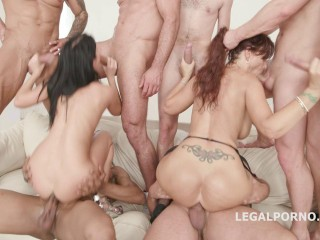 Deep Double Anal Gangbang For Amazing Babes Nicole Black & Syren De Mer