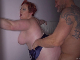 Huge-boobed Crimson Haired Plus-size Gets Her Bum Hammered