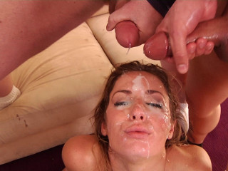 Bukkake gang bang party with massive facials