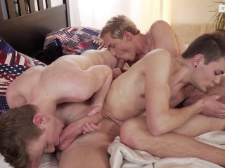 Three Amigos Hit On A Double-Dicked Fuck-Fest!