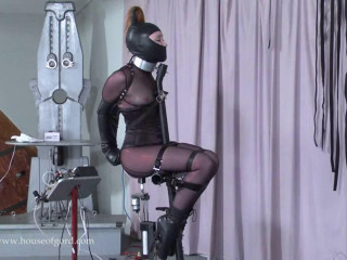 Cock-squeezing bondage, torment for molten gal and machine torment