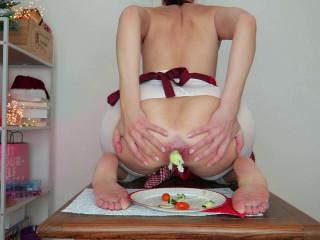 Food ass stuffing. Xmas GFE play