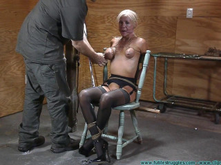 Thighs Spread Chair Tie for Amanda Fox - Extreme, Bondage, Caning