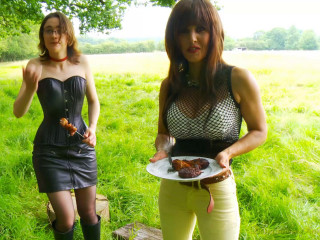 2 dommes torture the gimps in the woods