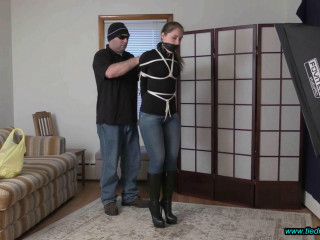 Rachel Adams Tied in Jeans, Black Leather Gloves and Knee Boots!