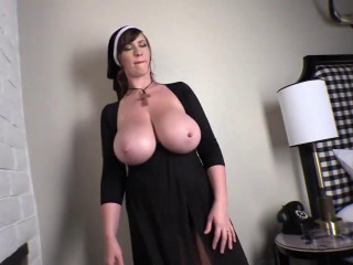 Big boob nun lana posing in her black dress