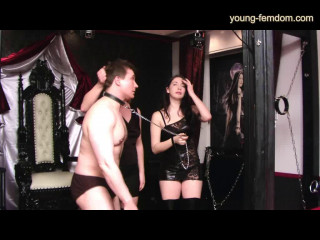 Young-femdom - 2 cruel Girls punish a slave in a Studio