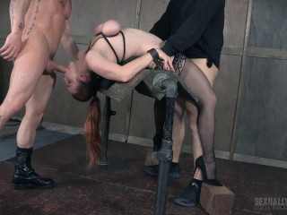 Big-chested Bella Beautifully Bound Rearwards Hammered with Boners!