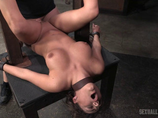 Ample caboose brown-haired Charlotte Cross tied down and harshly plumbed with tag squad pink cigar down!