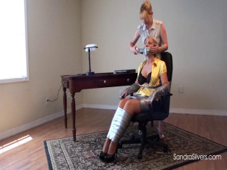 All On-Screen Gagging! Secretary Sandra Duct Taped and Massively Gagged
