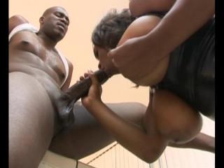 Busty ebony titty fucks