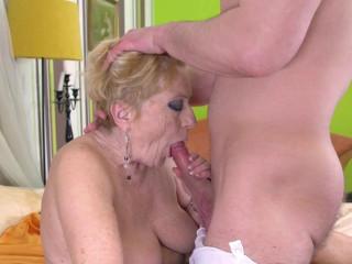 Horny granny seducing a young man