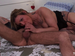 Cum on tits for blonde shemale HD