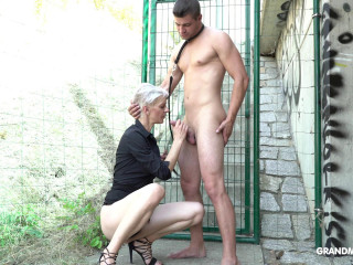 Old mistress having submissive fun