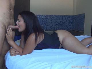 big booty angel diva sucks cock to lucky guy