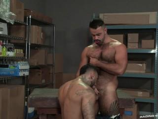 Rough muscle slut takes uncut cock