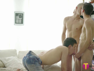Bottom boy pounded in a without a condom lad 3 way