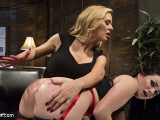 Lesbo domination Private Eye: Charie Deville spanks, flogs, & humps Veruca James