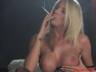 Danielle Maye Smoking Getting off