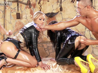 Leather stunners aurelly rebel & kayla green - sopping in spunk & oil, poked in ass, face & pussy