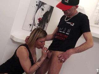 Cum on tits for blonde shemale Cat Leya after fuck with skiny mature guy