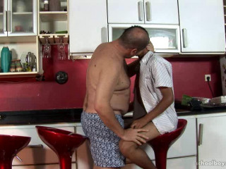 Youngster pounded in a bar stool