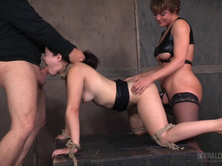 Yhivi Roped to Cage and Fucked From Both Concludes By Couple! (2016)