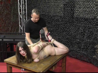 Our British Extreme Bondage Girl is back for an new Hogtie Suspension