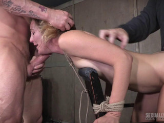 Tabouret corded and brutally dual fucked, Drizzling screaming deepthroat!
